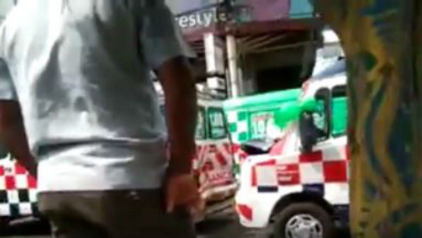 108, 104 Ambulances met accident at Bandar Road in Vijayawada, 3 vehicles were damaged