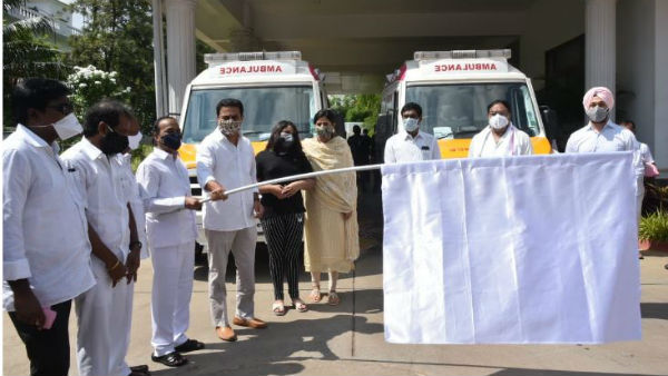 Gift a smile campaign:Minister KTR flags off six COVID-19 Response Ambulances
