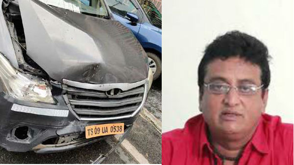 actor prudhvi raj car met with accident in banjarahills hyderabad