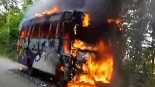 Fire breaks out in a sckdt private bus after tire bursts near Vijayawada
