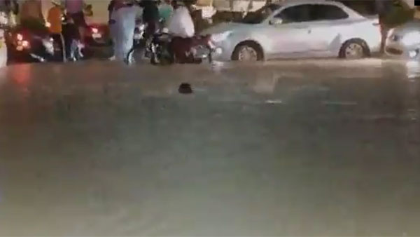 Hyderabad Rains: Swimmimg on the road at Chintalkunta near LB nagar in Telangana