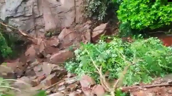 boulders rolled down the ghat road of Kanakadurga Temple at Indrakeeladri in Vijayawada