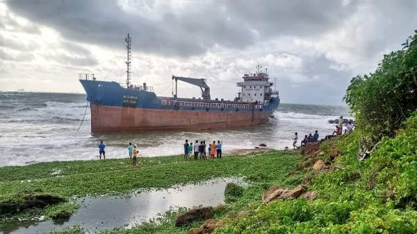 Heavy rains in Visakhapatnam: A ship drifted onto the shore at Tenneti Park in Vizag