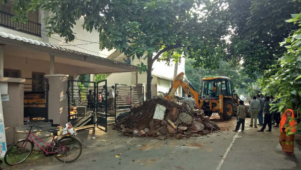 gvmc officials demolish part of former mp sabbam haris residence in visakhapatnam