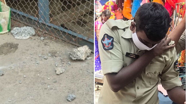 vijayawada constable injured after falling stones under kanakadurga flyover