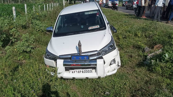 ap road safety IG narrowly escapes from car accident after his vehicle hit a two wheeler