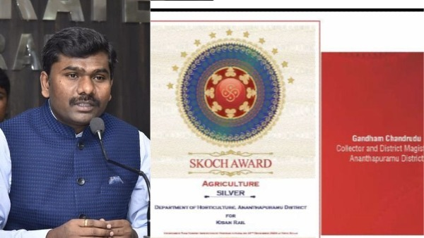 SKOCH silver award has been awarded to Anantapur district for the Kisan Rail