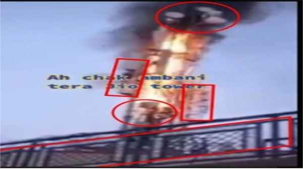 Fake: This is not a Reliance Jio tower burnt during the ongoing farmer protests
