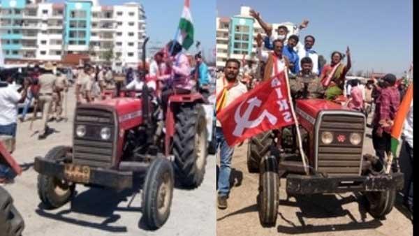 Tractor rally: ట్రాక్టర్ల నెంబర్లు రాసుకున్న పోలీసులు, అమ్రేష్ పురి టైపులో ఓం భ్రీమ్ బ్రుష్!