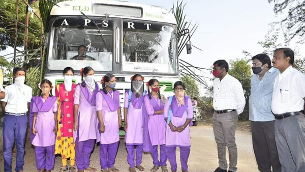 Anantapur Collector travels with students in Bus, after the latter transport felicity