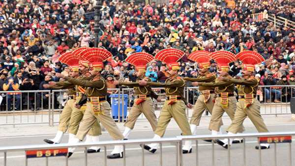 Beating Retreat ceremony at Attari-Wagah border on Republic day