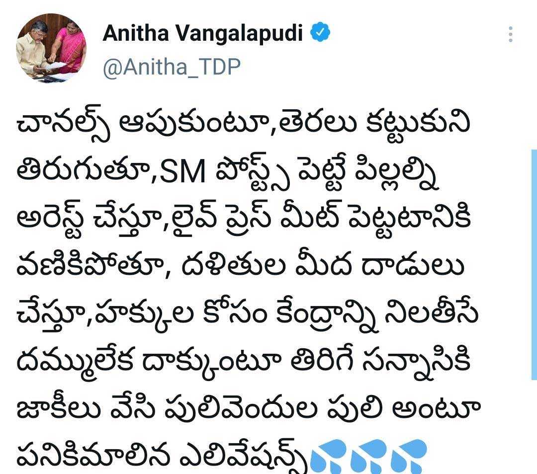 TDP Leader Vangalapudi Anitha Controversial Tweet on cm jagans failures