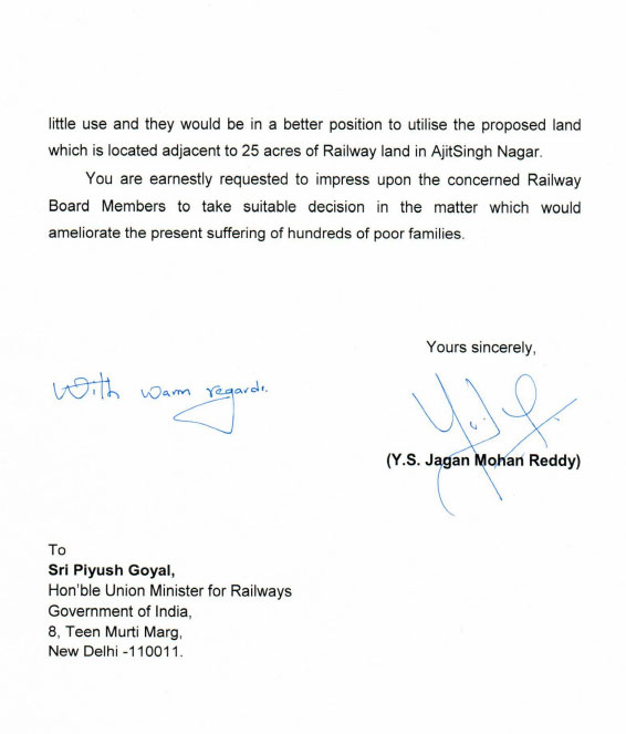 Andhra CM YS Jagan writes to Railway Minister Piyush Goyal exchange land with Railway