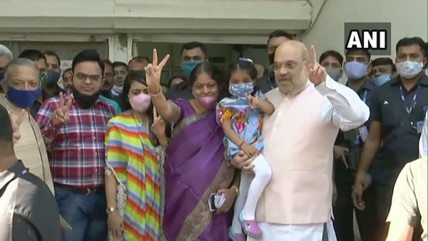 Gujarat local body polls: Union Minister Amit Shah casts his vote at Ahmedabad
