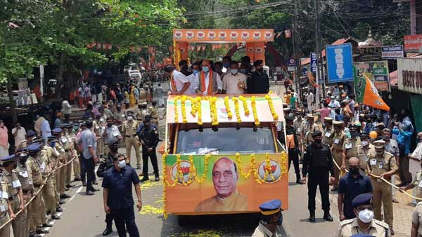 Rajnath promises to bring law for Sabarimala, says LDF-UDF friendly match in Kerala
