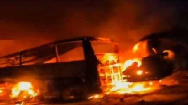 20 killed, 3 injured when bus, truck crash in southern Egypt