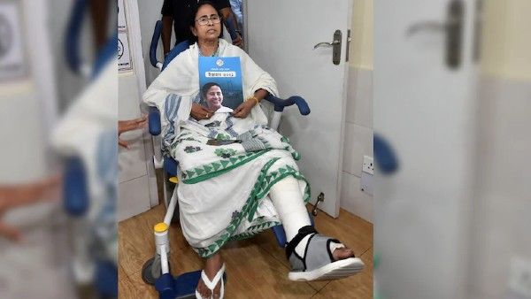 BJP, TMC spar over video showing Mamata Banerjee shake her injured leg