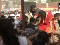 Priyanka Gandhi Jumps Over Barricade To Meet Supporters