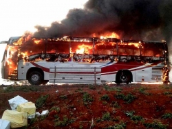 Volvo Bus Catches Fire In Anantapur Passengers Escape Unhurt