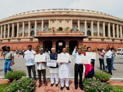 Ycp Mps Continue Protests Near Gandhi Statue Parliament