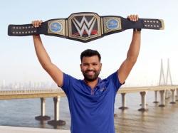 Rohit Sharma Receives Customised Wwe Title Belt Mumbai Indians Ipl 10 Triumph