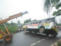 Rtc Bus Over Turns Visakha Patnam